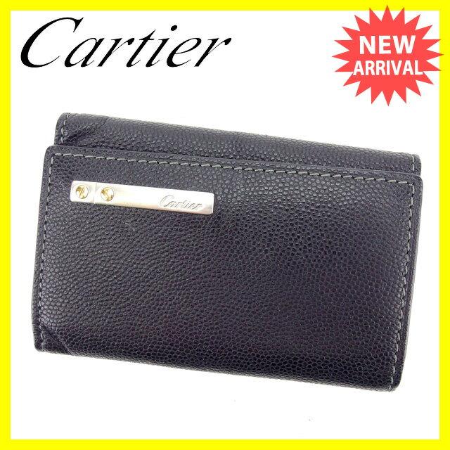 【中古】 カルティエ キーケース 6連キーケース Cartier ブラック×シルバー S229s .