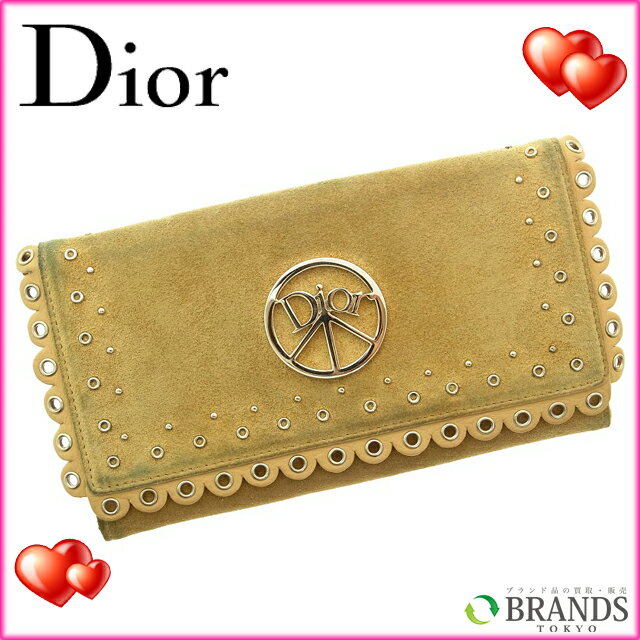 クリスチャン・ディオール Christian Dior 長財布 ベージュ スエード 【中古】 A110