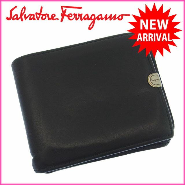 サルヴァトーレ・フェラガモ Salvatore Ferragamo 二つ折り財布 小銭入れ付き メンズ可 ロゴプレート ブラック×シルバー レザー 【中古】 B548