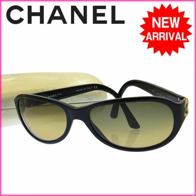 シャネル CHANEL サングラス ココマーク ブラック(レンズ:イエローグラデーション) プラスチック 【中古】 C472