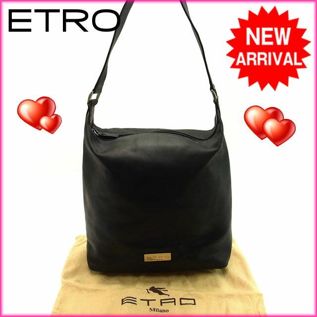 エトロ ETRO ショルダーバッグ メンズ可 ロゴ ブラック レザー 【中古】 C518