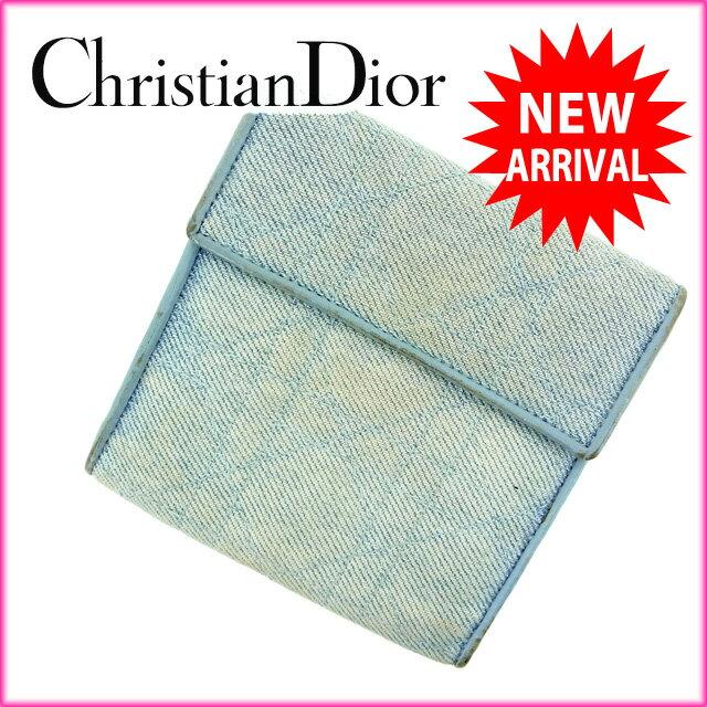 クリスチャン・ディオール Christian Dior 三つ折り財布 /メンズ可 ブルー キャンバス×レザー 【中古】 C920