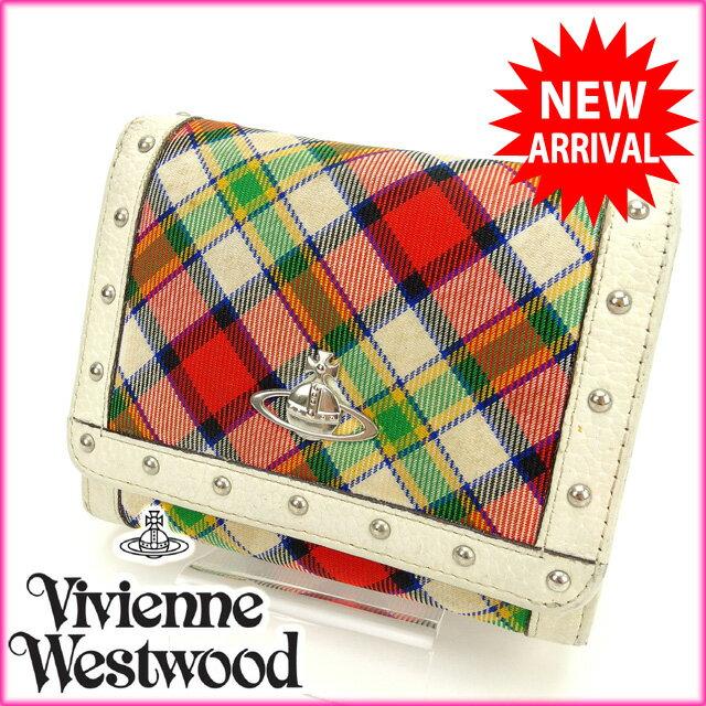 ヴィヴィアン・ウエストウッド Vivienne Westwood 二つ折り 財布 オーブ キャンバス×レザー (・)【中古】 C1140