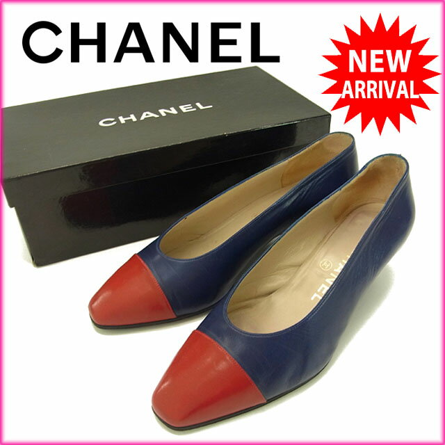【中古】 シャネル CHANEL パンプス シューズ 靴 レディース ♯35ハーフ スクエアトゥ バイカラー レッド×ネイビー レザー C1512s .