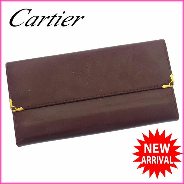 カルティエ Cartier 長財布 がま口 三つ折り メンズ可 角プレート付き マストライン ボルドー×ゴールド レザー 【中古】 C1626