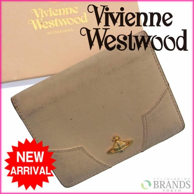 ヴィヴィアン・ウエストウッド Vivienne Westwood パスケース ロゴ ベージュ レザー×ゴールド素材 【中古】 D337