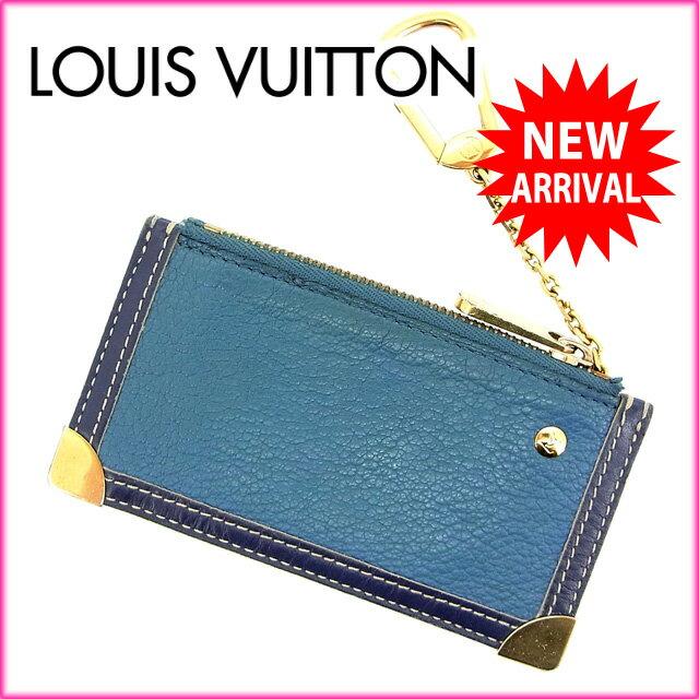 ルイヴィトン Louis Vuitton コインケース キーリング スハリ ブルー 【中古】 D956