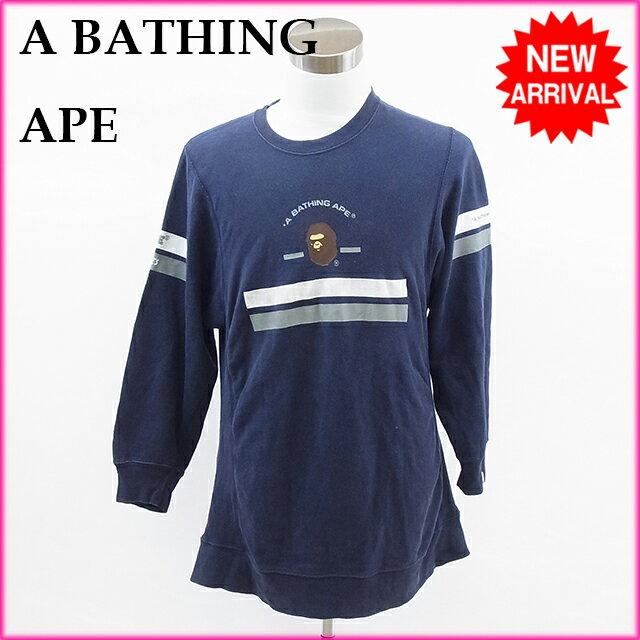 ア・ベイシング・エイプ A BATHING APE トレーナー ネイビー 綿100% 【中古】 E248