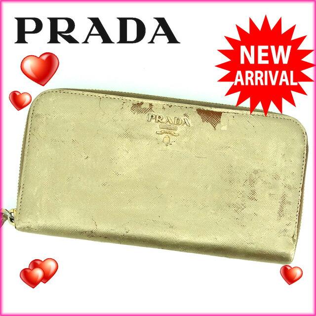 プラダ PRADA 長財布 ラウンドファスナー レディース ロゴ ゴールド レザー 【中古】 E456