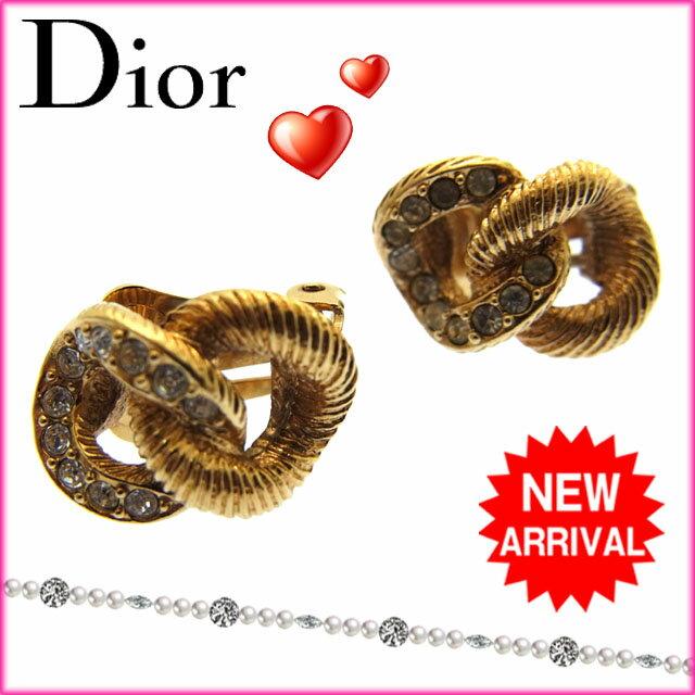 ( ・) クリスチャン・ディオール Christian Dior イヤリング ゴールド ゴールド素材×ラインストーン 【中古】 F046 .