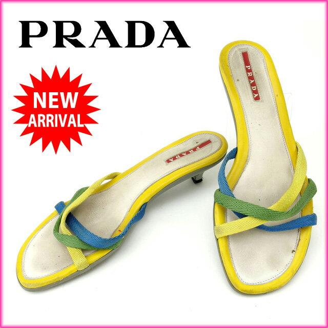 プラダ PRADA サンダル #35 レディース イエロー×ブルー×グリーン 【中古】 F664