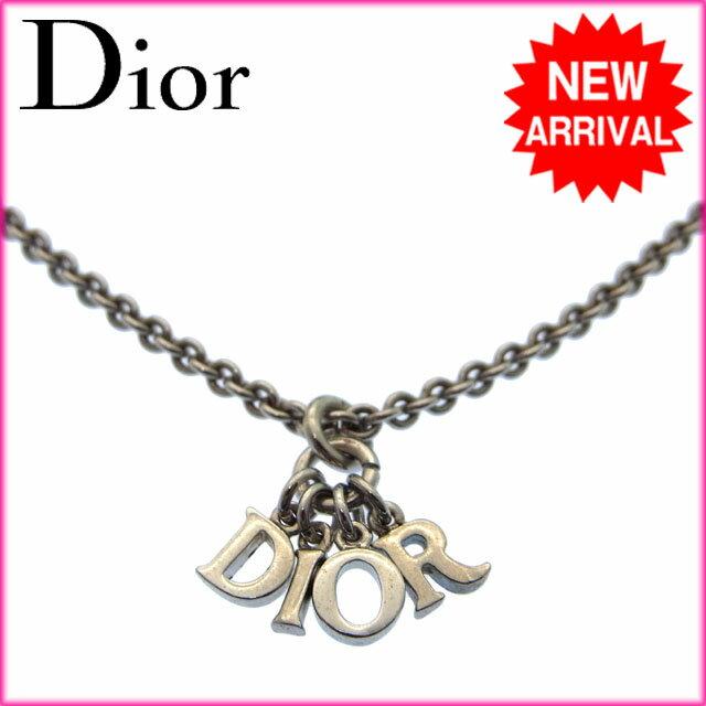 クリスチャン・ディオール Christian Dior ネックレス ロゴ シルバー メッキ 【中古】 G052 .