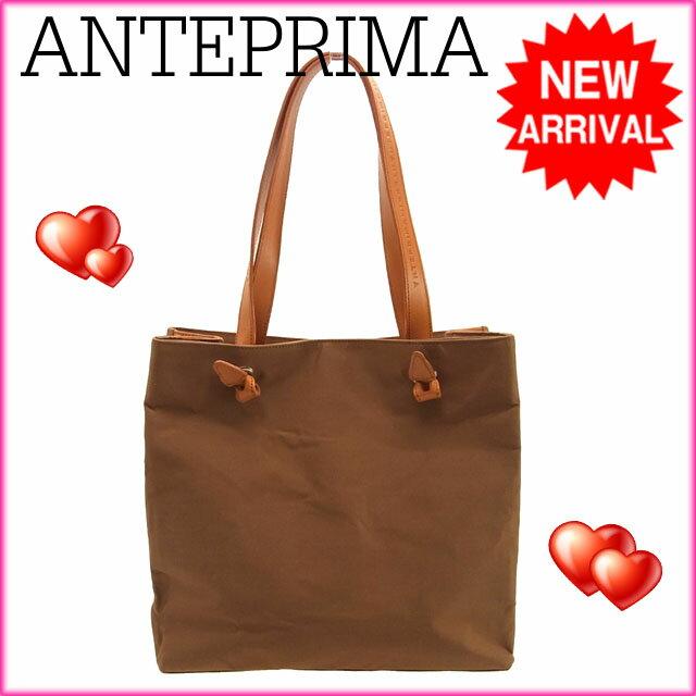 アンテプリマ ANTEPRIMA ハンドバッグ トートバッグ オレンジ×ブラウン ナイロン×レザー 【中古】 G064