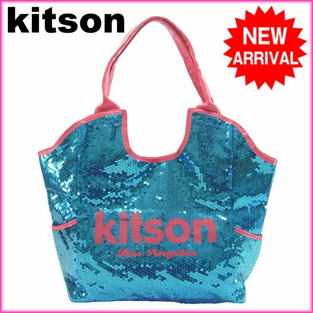 キットソン kitson ショルダーバッグスパンコールレディース ロゴ ブルー×ピンク PVC×スパンコール 【中古】 G118