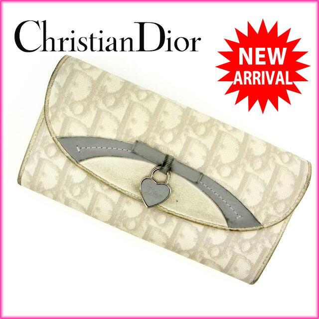 ( ) クリスチャン・ディオール Christian Dior 長財布 レディース トロッター ホワイト×グレー PVC×レザー 【中古】 G435