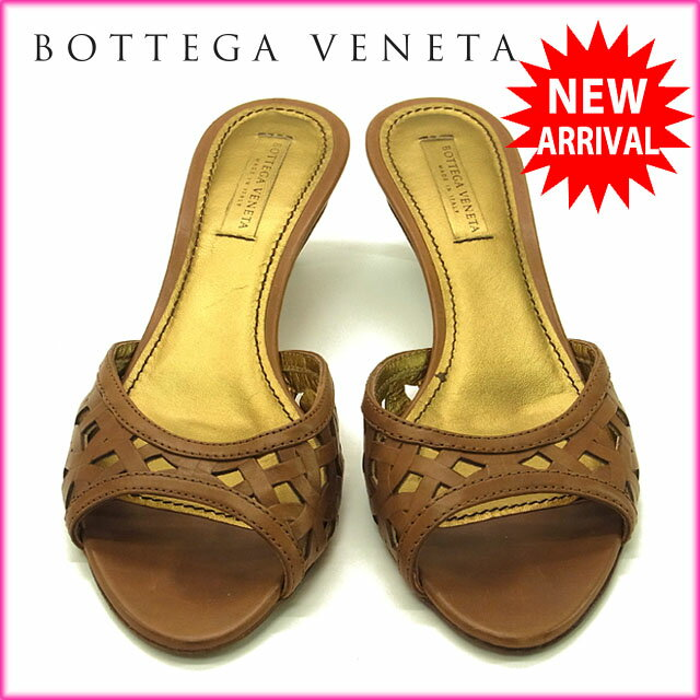 ボッテガ ヴェネタ BOTTEGA VENETA ミュール サンダル シューズ 靴 レディース ♯37 透かし編み ブラウン×ゴールド レザー 【中古】 G601 .