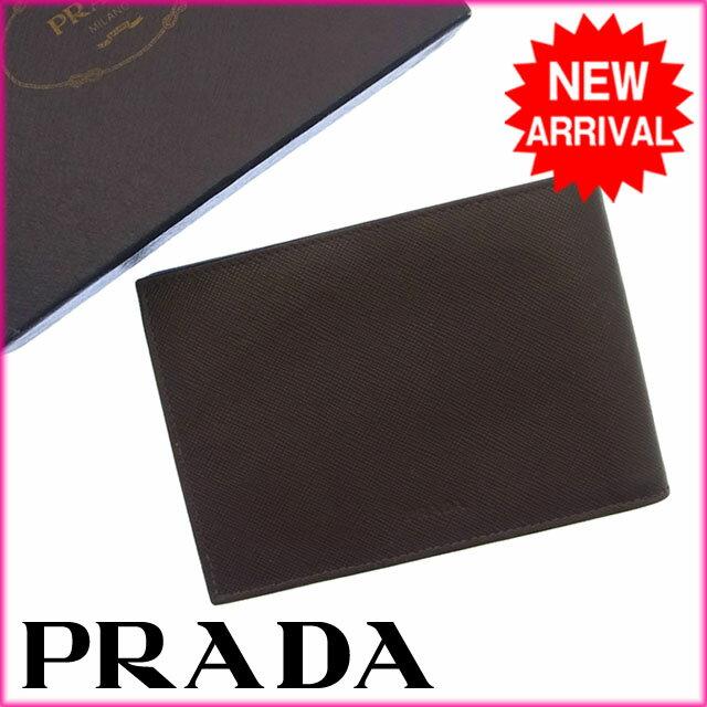 プラダ PRADA 二つ折り財布メンズ可 ロゴ ブラウン レザー 【中古】 H018