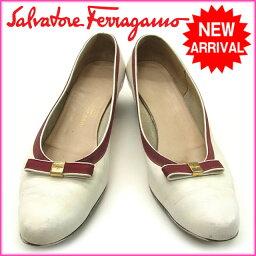 Salvatore·Ferragamo SALVATORE FERRAGAMO女用淺口無扣無帶皮鞋蝴蝶結6半C白×波爾多皮革(對應)(非常便宜的立即交納)H038