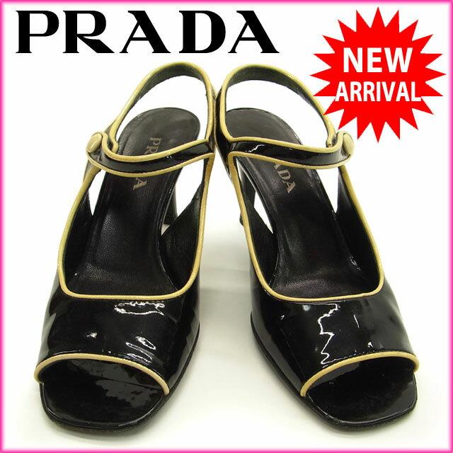 プラダ PRADA サンダル パイピングデザイン レディース ♯35 ブラック×ベージュ パテントレザー 【中古】 H074