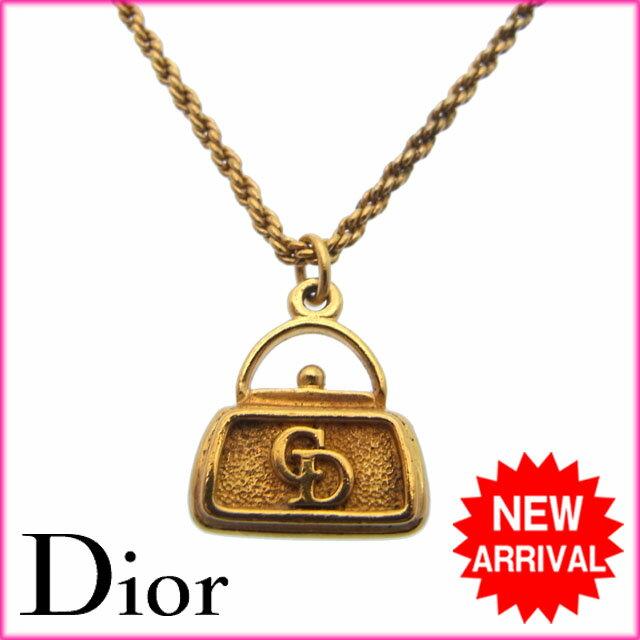 クリスチャン・ディオール Christian Dior ネックレス ロゴ ゴールド メッキ (ヴィンテージ)【中古】 I011 .
