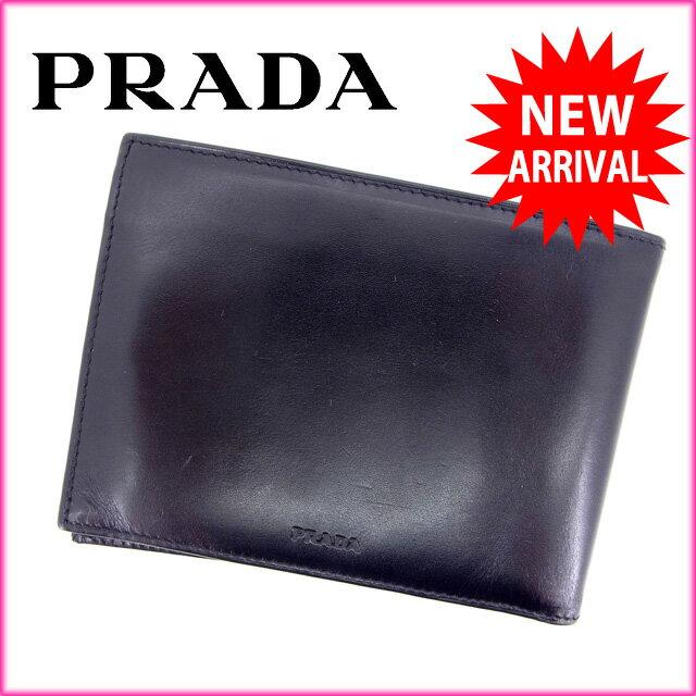プラダ PRADA 二つ折り財布 /メンズ可 サフィーノ ブラック レザー (あす楽対応)(美品)【中古】 Y397