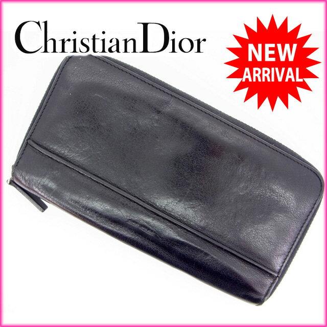 ディオール・オム Dior Homme 長財布 /ラウンドファスナー /メンズ可 ブラック レザー (あす楽対応)(人気・激安)【中古】 Y563
