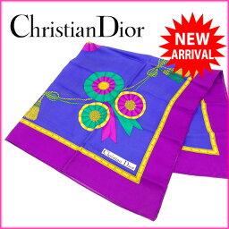 [中古] 克裏斯汀迪奥Christian Dior圍巾紫×藍色100%絲綢(明天輕鬆的對應)人氣非常便宜的Y680。