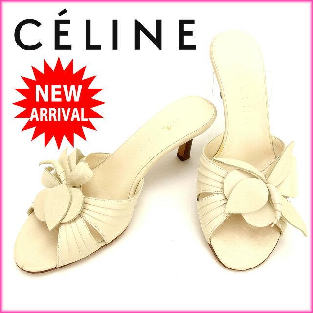 セリーヌ CELINE サンダル #35C /レディース ホワイト レザー (あす楽対応)人気 良品【中古】 Y730