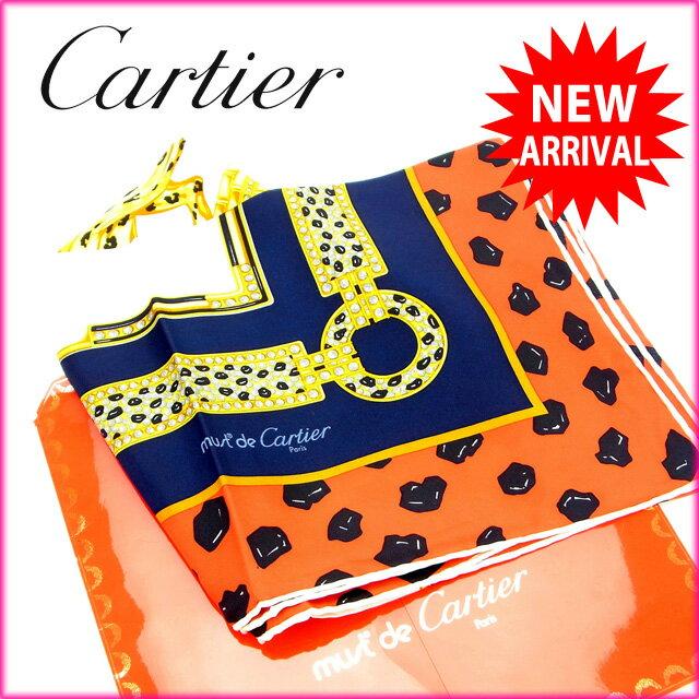 【中古】 カルティエ Cartier スカーフ パンサー レッド×ネイビー×ベージュ 100%シルク (あす楽対応)人気 激安 Y834