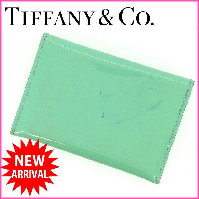 ティファニー Tiffany&Co . カードケース ティファニーブルー エナメルレザー (あす楽対応)人気 激安【中古】 Y856 .