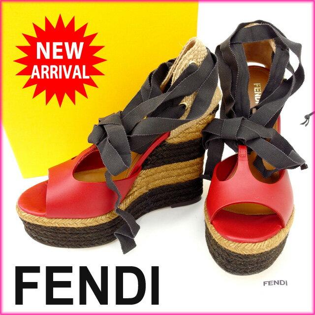 フェンディ FENDI サンダル #37 /レディース /ウエッジソール レッド×ブラウン (あす楽対応)人気 未使用【中古】 Y860