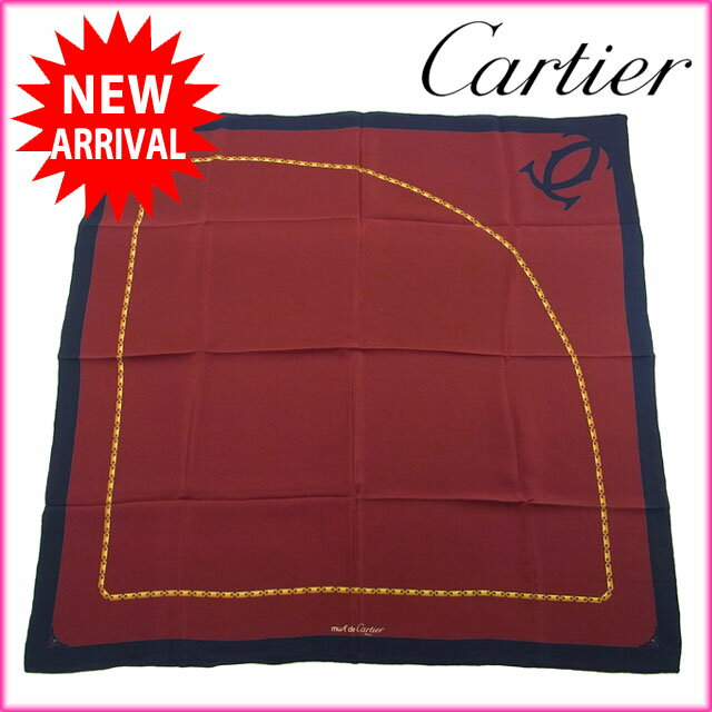 【中古】 カルティエ Cartier スカーフ レディースメンズ可 ロゴ×チェーン ボルドー×ネイビー系 Silk/100% (あす楽対応)人気 良品 Y881