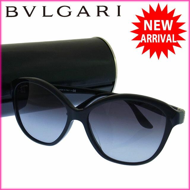 ブルガリ BVLGARI サングラス メガネ メンズ可 ラインストーン付き ロゴ 8092-B-A 5021/8G クリアブラック×ブラック×ブルー ステンレススチール×プラスティック×ラインストーン (あす楽対応)人気 美品【中古】 Y894