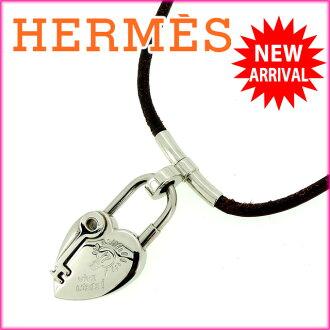 헤르메스 HERMES 넥크레스비비리데브라운×실버 레더×실버 소재 J3671