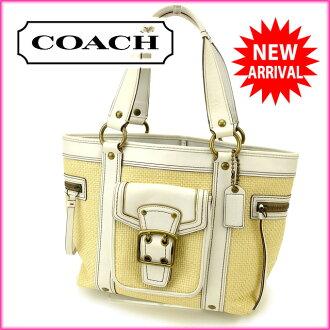 코치 COACH 토트 백 핸드백 바구니 가방 베이지×화이트 빨대×레더(대응) 인기 우량품 J4112