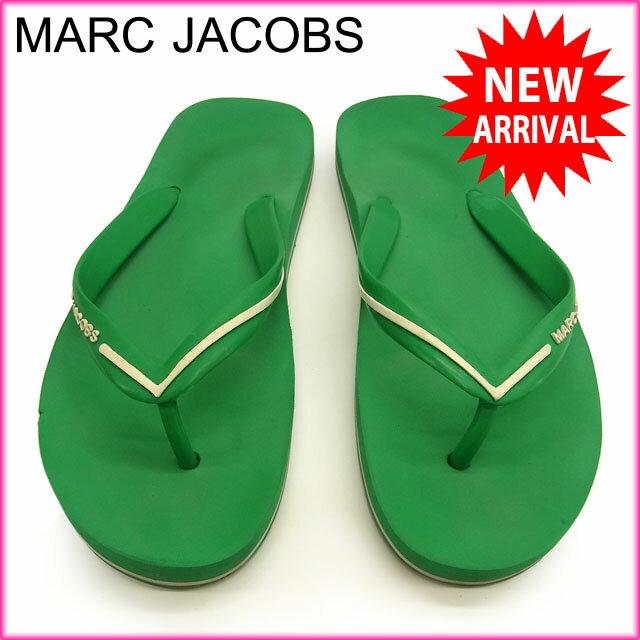 マークジェイコブス MARC JACOBS サンダル シューズ 靴 レディース ロゴ入り ビーチサンダル グリーン×ホワイト ラバー (あす楽対応)人気 美品【中古】 Y1196