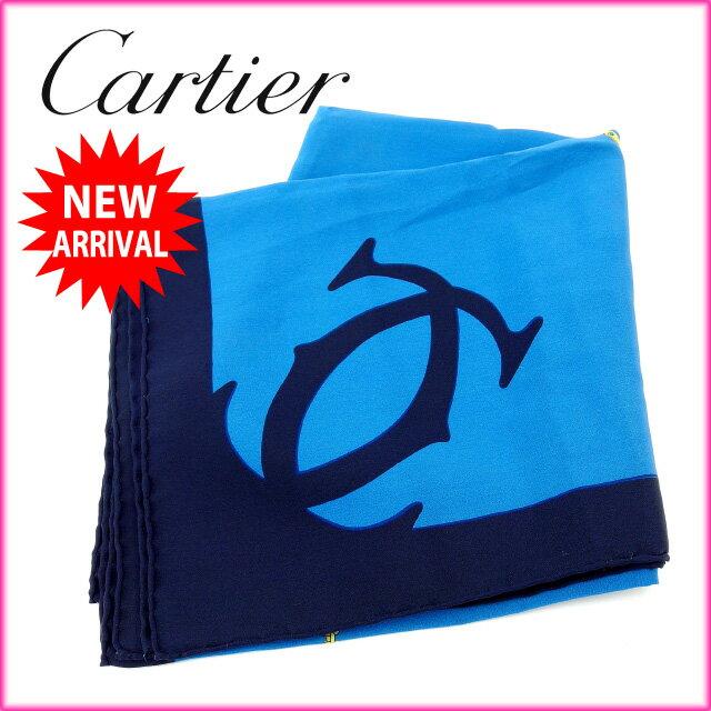 【中古】 カルティエ Cartier スカーフ メンズ可 マストライン ブルー×ブラック 100%シルク (あす楽対応)人気 美品 Y1280
