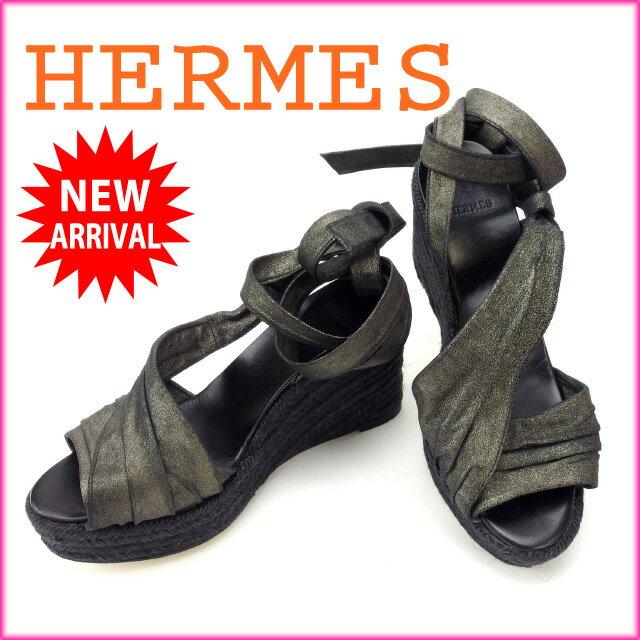 【中古】 エルメス HERMES サンダル #37 レディース ウェッジソール ブラック (あす楽対応)人気 美品 Y1518