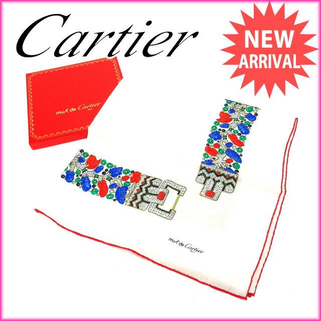 【中古】 カルティエ Cartier スカーフ レディース マストライン ホワイト×レッド 100%シルク (あす楽対応)人気 中古 Y1569