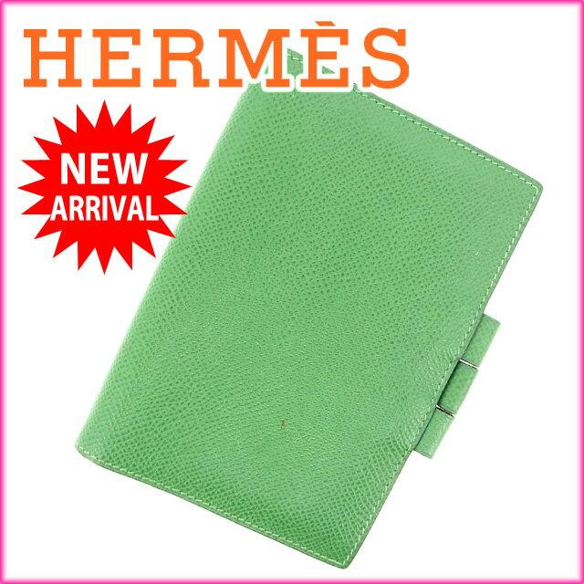 エルメス HERMES 手帳カバー グリーン レザー (あす楽対応)(良品)【中古】 M1029