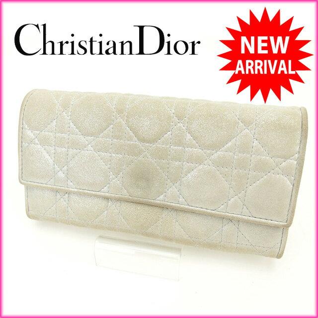 クリスチャン・ディオール Christian Dior 長財布 シルバー キャンバス (あす楽対応)良品 人気【中古】 O153