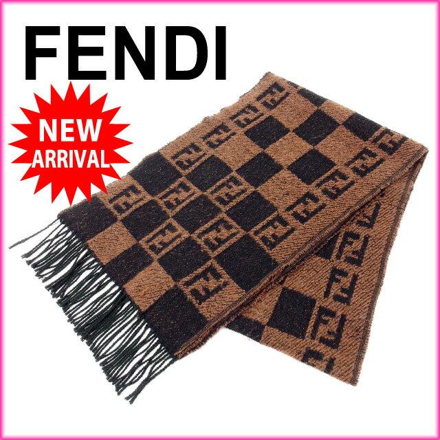 フェンディ FENDI マフラー メンズ可 ペカン ブラック×ブラウン 【中古】 D1197