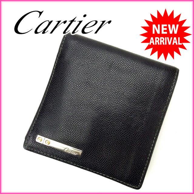 カルティエ Cartier 二つ折り財布 メンズ可 ブラック レザー 【中古】 E736