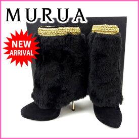【中古】 ムルーア MURUA ブーツ #235 レディース ファー ブラック×ゴールド スエード (あす楽対応)人気 中古 T12480 .