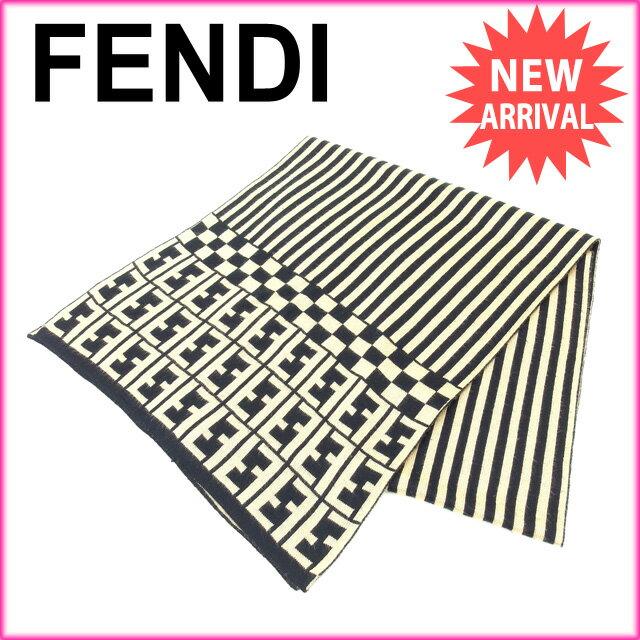 フェンディ FENDI マフラー メンズ可 ベージュ×ブラック (あす楽対応)人気 良品【中古】 M1282