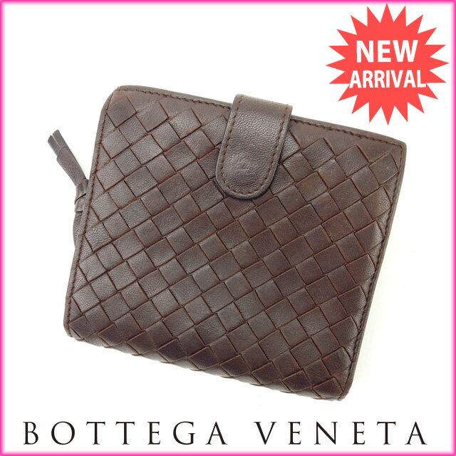 ボッテガ・ヴェネタ BOTTEGA VENETA 二つ折り財布 メンズ可 イントレチャート ブラウン レザー 【中古】 J6240