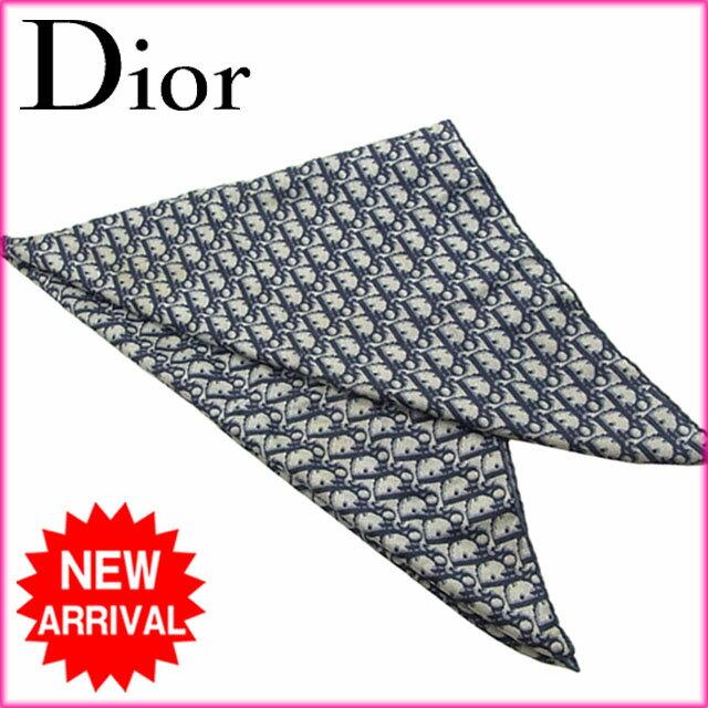 クリスチャン ディオール スカーフ 大判スカーフ Christian Dior ブルー系 【中古】 R1008s