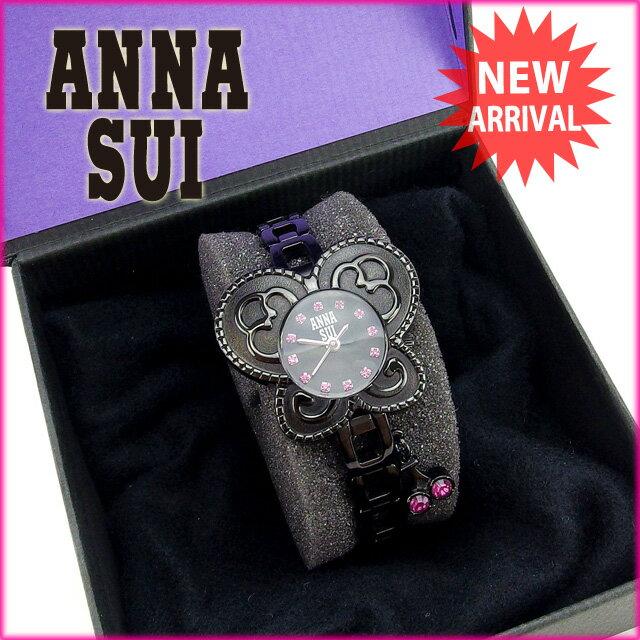 アナスイ ANNA SUI 腕時計 レディース ブラック×ピンク 【中古】 G656
