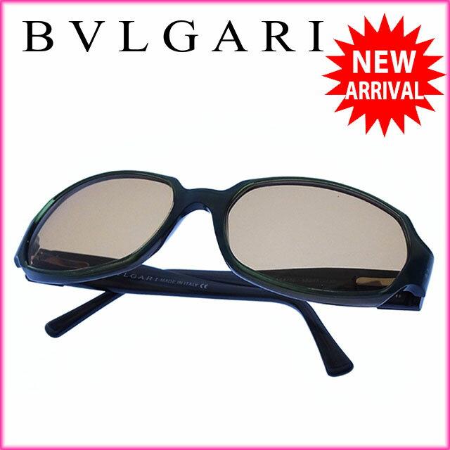 ブルガリ BVLGARI サングラス メガネ メンズ可 スクエアロゴボタン付き フルリム 828 584/10 クリアベージュ×グリーン系 プラスティック (あす楽対応)セール 美品【中古】 Y2367
