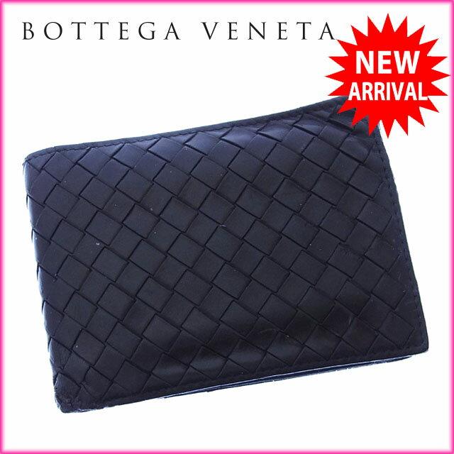 ボッテガヴェネタ BOTTEGA VENETA 二つ折り財布 コンパクトサイズ メンズ可 イントレチャート 113112 ブラック レザー 【中古】 J7935